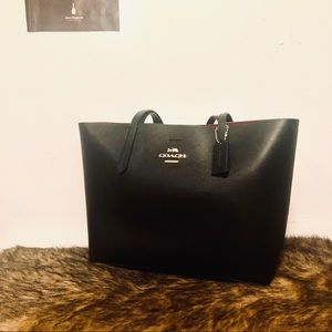 Rare! Coach black and red leather tote classic